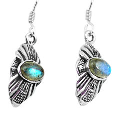 2.92cts natural rainbow moonstone 925 sterling silver dangle earrings p63878