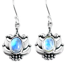 4.55cts natural rainbow moonstone 925 sterling silver dangle earrings p63886