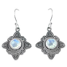 2.51cts natural rainbow moonstone 925 sterling silver dangle earrings p63929