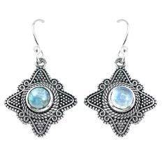 2.73cts natural rainbow moonstone 925 sterling silver dangle earrings p63930
