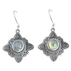 2.85cts natural rainbow moonstone 925 sterling silver dangle earrings p63945