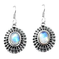 4.71cts natural rainbow moonstone 925 sterling silver dangle earrings p63969
