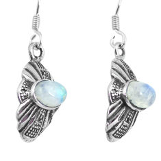3.03cts natural rainbow moonstone 925 sterling silver dangle earrings p64003