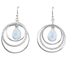 6.33cts natural rainbow moonstone 925 sterling silver dangle earrings p64776