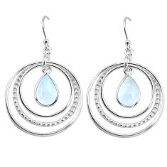 5.54cts natural rainbow moonstone 925 sterling silver dangle earrings p64778