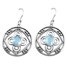 3.58cts natural rainbow moonstone 925 sterling silver dangle earrings p64837