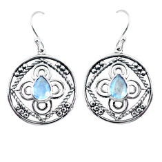 3.41cts natural rainbow moonstone 925 sterling silver dangle earrings p64838