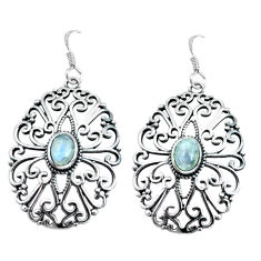 2.90cts natural rainbow moonstone 925 sterling silver dangle earrings p64875