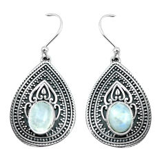 4.47cts natural rainbow moonstone 925 sterling silver dangle earrings p64933