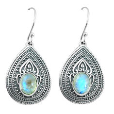 4.56cts natural rainbow moonstone 925 sterling silver dangle earrings p64936