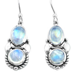 6.10cts natural rainbow moonstone 925 sterling silver dangle earrings p64997