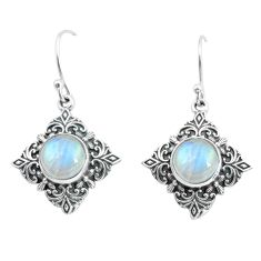 6.83cts natural rainbow moonstone 925 sterling silver dangle earrings p65018