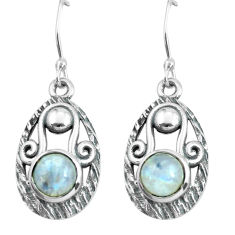 5.51cts natural rainbow moonstone 925 sterling silver dangle earrings p65038
