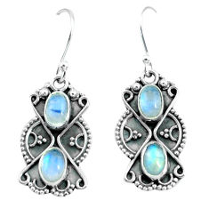 4.08cts natural rainbow moonstone 925 sterling silver dangle earrings p66552