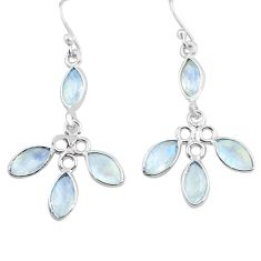 11.25cts natural rainbow moonstone 925 sterling silver dangle earrings p77395