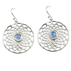 1.94cts natural rainbow moonstone 925 sterling silver dangle earrings p77526