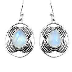 6.35cts natural rainbow moonstone 925 sterling silver dangle earrings p77579
