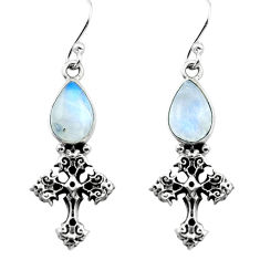 4.43cts natural rainbow moonstone 925 sterling silver dangle earrings p80892
