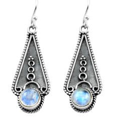3.13cts natural rainbow moonstone 925 sterling silver dangle earrings p81321