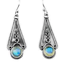2.90cts natural rainbow moonstone 925 sterling silver dangle earrings p81326