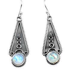 3.04cts natural rainbow moonstone 925 sterling silver dangle earrings p81329