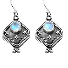 2.81cts natural rainbow moonstone 925 sterling silver dangle earrings p81332