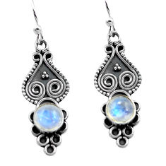 3.13cts natural rainbow moonstone 925 sterling silver dangle earrings p81341