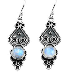 3.12cts natural rainbow moonstone 925 sterling silver dangle earrings p81346