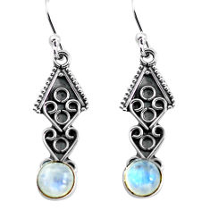 2.85cts natural rainbow moonstone 925 sterling silver dangle earrings p81375