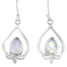 5.63cts natural rainbow moonstone 925 sterling silver dangle earrings p82238