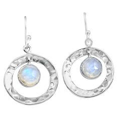 5.87cts natural rainbow moonstone 925 sterling silver dangle earrings p85613