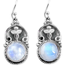 9.39cts natural rainbow moonstone 925 sterling silver dangle earrings p85653