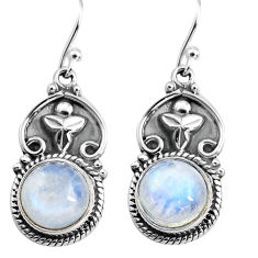 9.03cts natural rainbow moonstone 925 sterling silver dangle earrings p85655