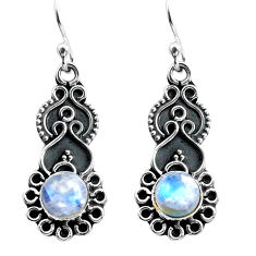3.42cts natural rainbow moonstone 925 sterling silver dangle earrings p87521