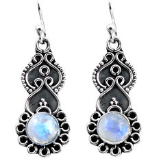 3.66cts natural rainbow moonstone 925 sterling silver dangle earrings p87522