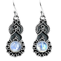 3.42cts natural rainbow moonstone 925 sterling silver dangle earrings p87523