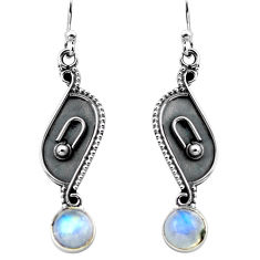 3.29cts natural rainbow moonstone 925 sterling silver dangle earrings p87528