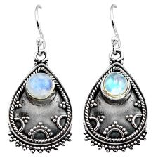 3.41cts natural rainbow moonstone 925 sterling silver dangle earrings p87537