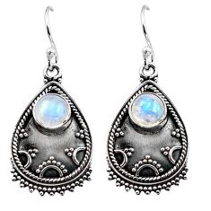 3.58cts natural rainbow moonstone 925 sterling silver dangle earrings p87540