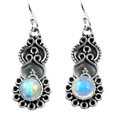 3.13cts natural rainbow moonstone 925 sterling silver dangle earrings p87542