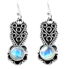 3.13cts natural rainbow moonstone 925 sterling silver dangle earrings p87543