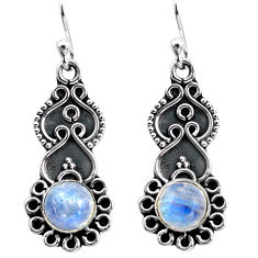 3.13cts natural rainbow moonstone 925 sterling silver dangle earrings p87546