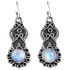 3.13cts natural rainbow moonstone 925 sterling silver dangle earrings p87547