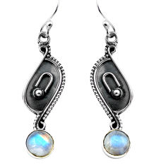 3.07cts natural rainbow moonstone 925 sterling silver dangle earrings p87549