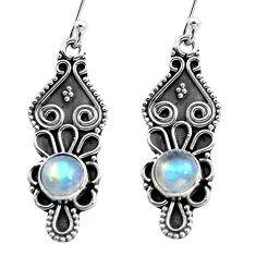 3.46cts natural rainbow moonstone 925 sterling silver dangle earrings p87550