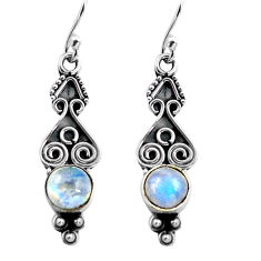 3.09cts natural rainbow moonstone 925 sterling silver dangle earrings p87556