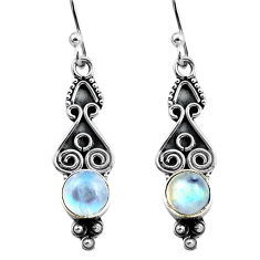 3.05cts natural rainbow moonstone 925 sterling silver dangle earrings p87558
