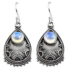 3.58cts natural rainbow moonstone 925 sterling silver dangle earrings p87559
