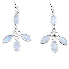 9.13cts natural rainbow moonstone 925 sterling silver dangle earrings p88414