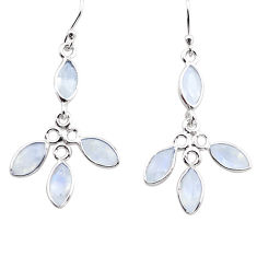 9.74cts natural rainbow moonstone 925 sterling silver dangle earrings p88415